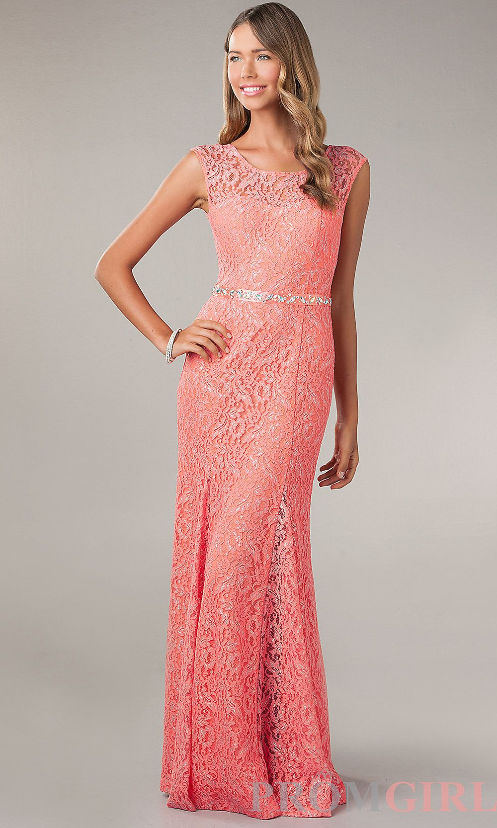 Long Lace Evening Gowns, Lace Trimmed Prom Dresses - PromGirl #prom ...