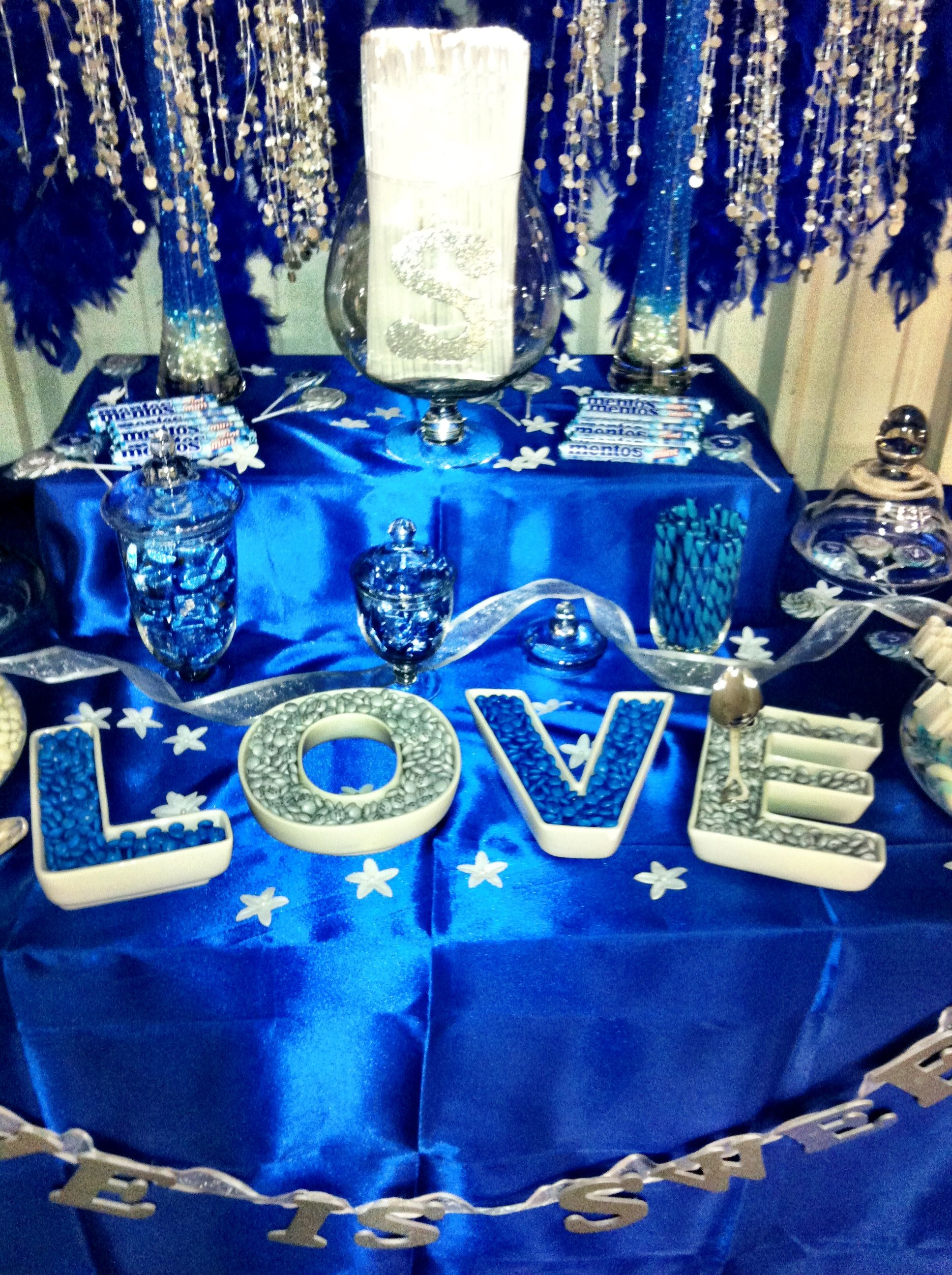 My Wedding Candy Buffet Blue Silver White Blue Themed Wedding Wedding Table Decorations Blue Silver Candy Buffet