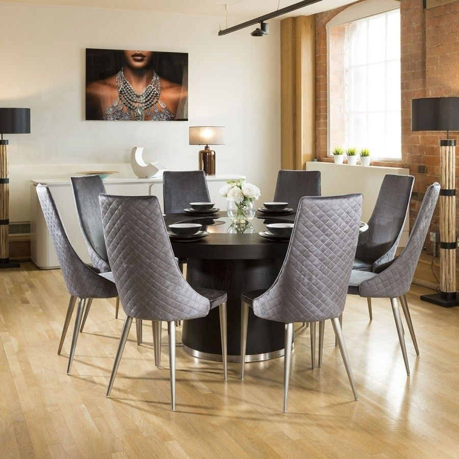 b545e4faceef3 Quatropi Large Round Black Oak Dining Set 6 Grey Carver Dining Chairs