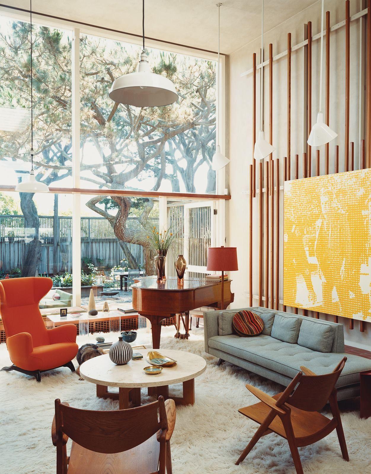American Beach House W Courtyard Mid Century Modern Interiors
