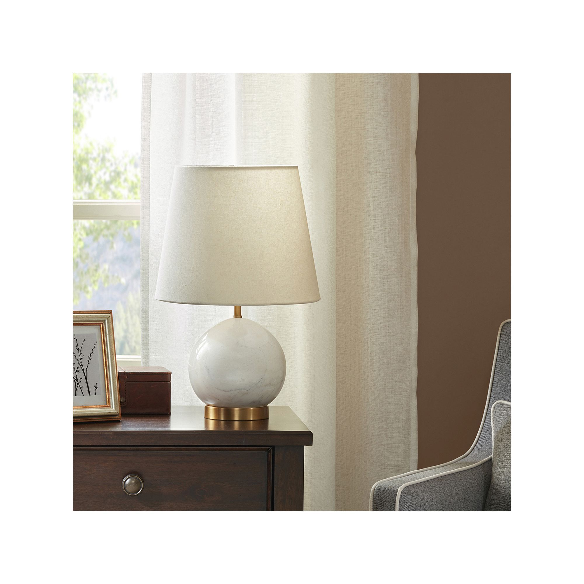 Madison Park Signature Marble Sphere Table lamp, White
