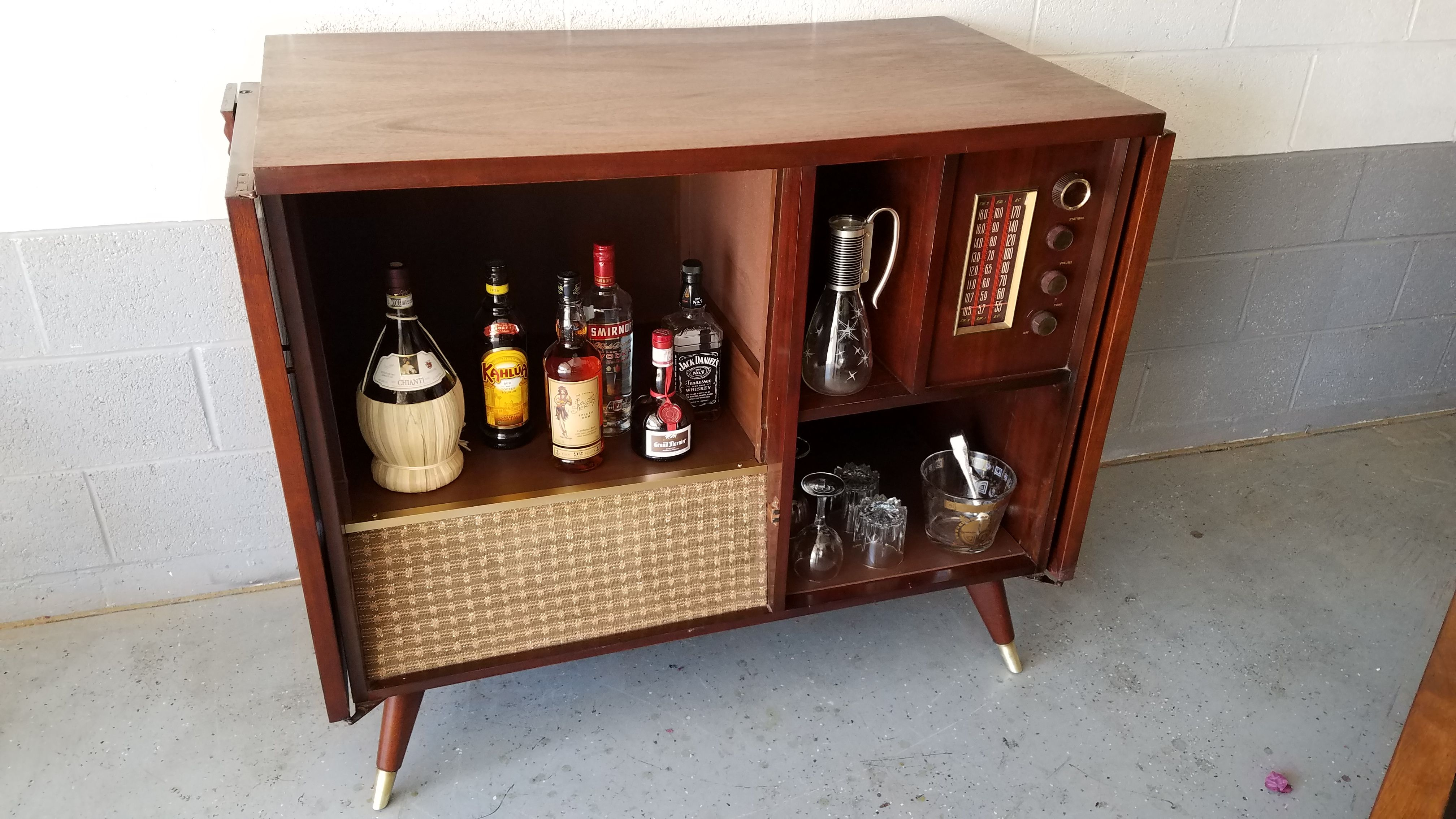 This liquor cabinet was repurposed from a Westinghouse TV-radio ...