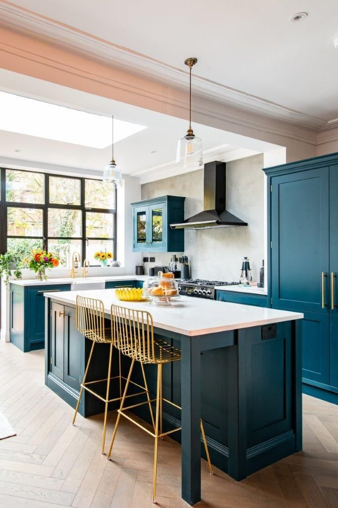 Best Hague Blue Kitchen With Brass Hardware Open Plan Kitchen 400 x 300