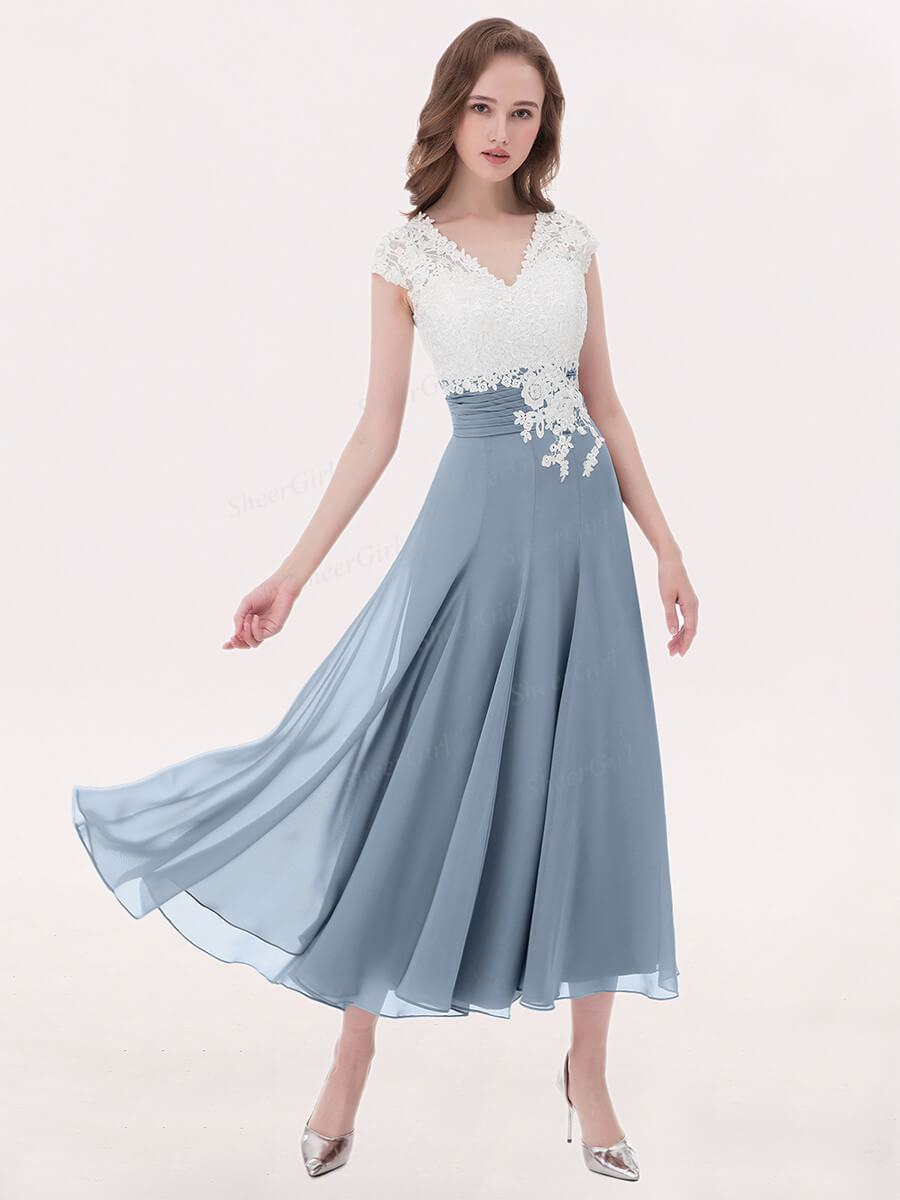 009cda862cbd Tea length mother of the bride dresses. Lace brown chiffon bridesmaid dress.  Grey modest semi-formal dress for women.