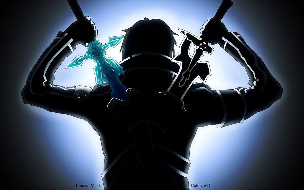 Free Line Art Converter : Kirito sao ready to fight by wdmoon lineart makk v colour