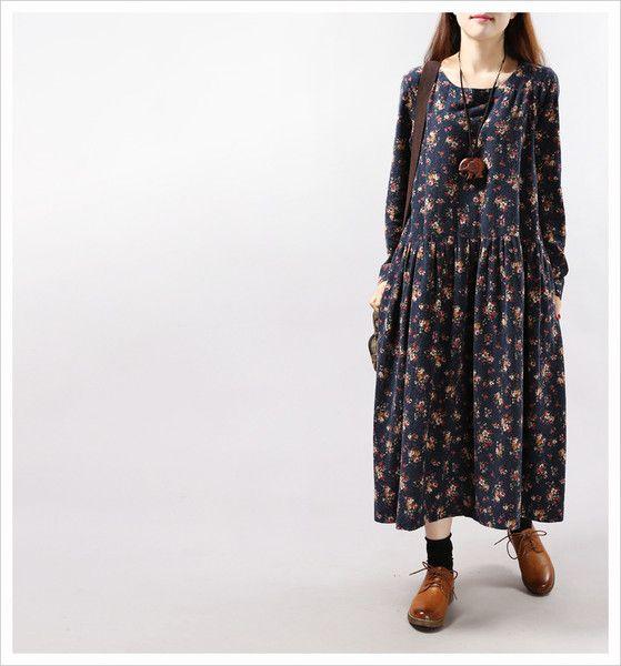 Loose Linen Dress, Maxi Long Autum Dress from echo's shop by DaWanda.com
