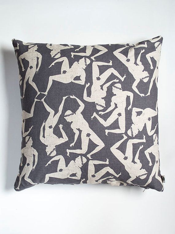 A troupe of dancing men and their fig leaves adorn our 100% natural linen cushion cover: designed, screen printed and sewn in Canada.  Charcoal screen