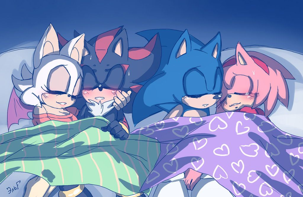 Sleepy Heads Shadouge And Sonamy Sonic And Shadow Sonic Fan Art