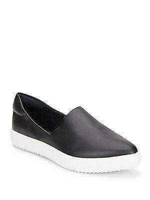 J/SLIDES Dibbie Leather Point Toe Sheakers - Black - White - Size 7.5
