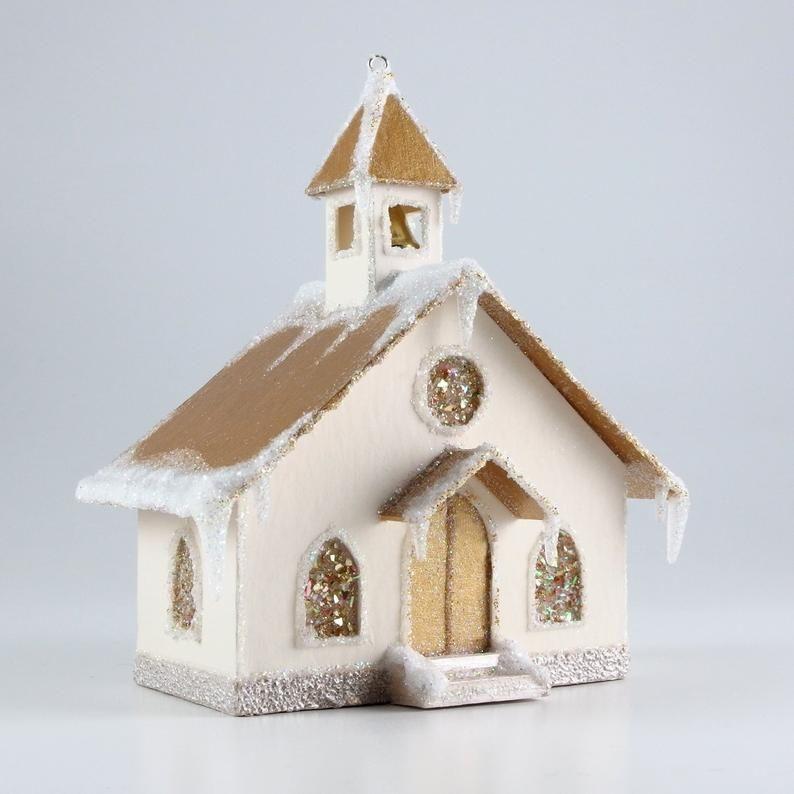 Photo of Christmas Chapel Paper Glitter House Ornament