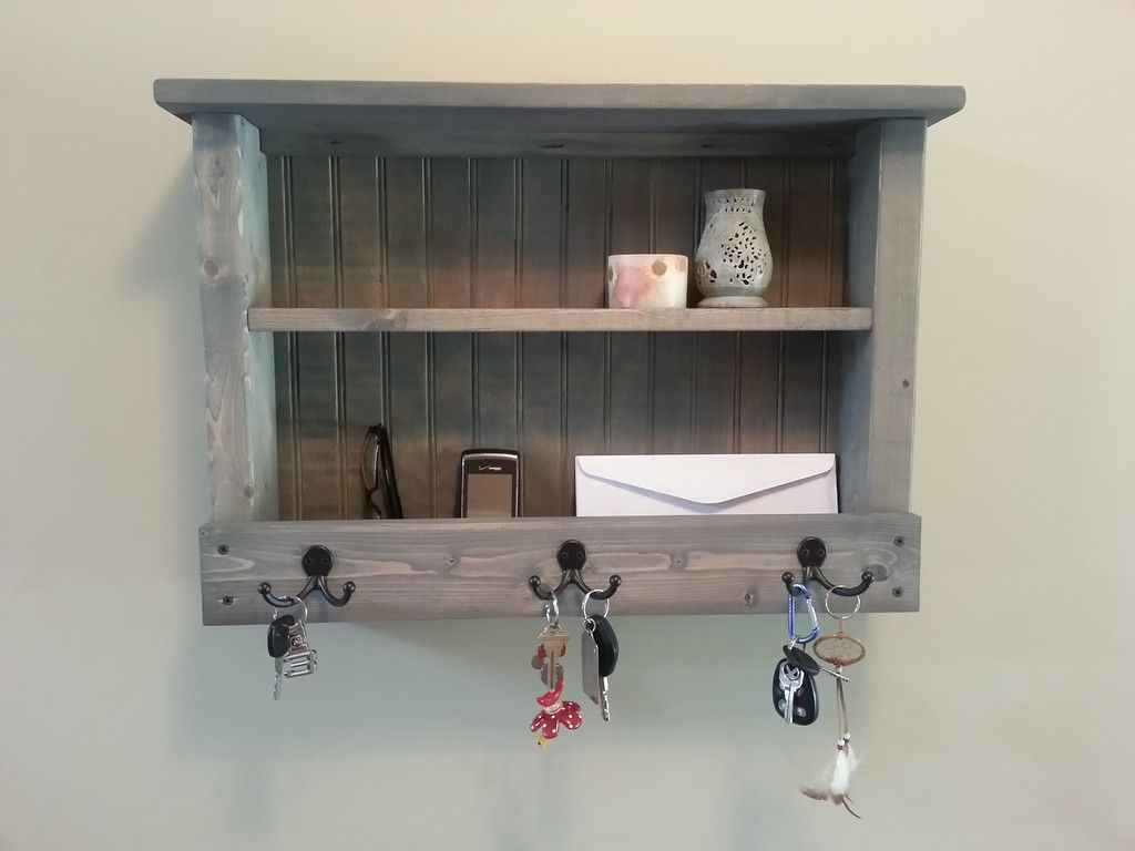 Rustic Wood Key Rack. Perfect for organizing your mail, phones, and keys.