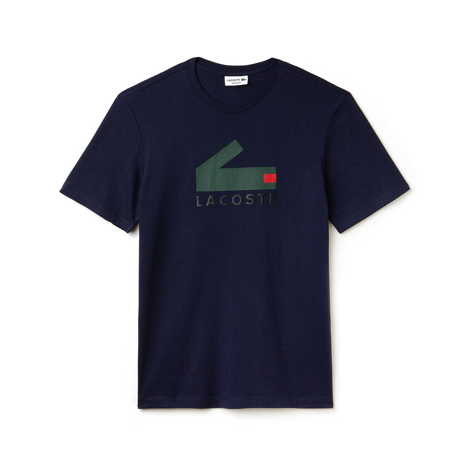 9701c704 LACOSTE Men's Crew Neck Graphic Crocodile Branding Cotton Jersey T-shirt - navy  blue. #lacoste #cloth #