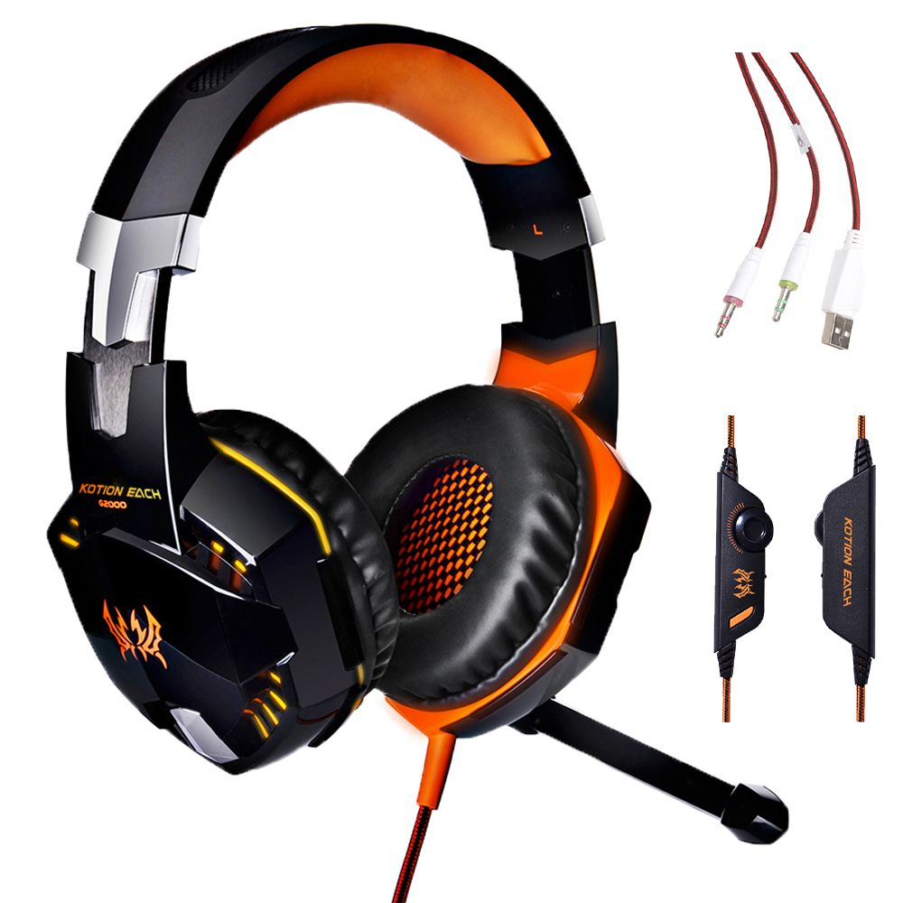 Over-ear Gaming Headphones, Headband Earphone auriculares with Mic Stereo Bass LED Light for computer Game Free shipping