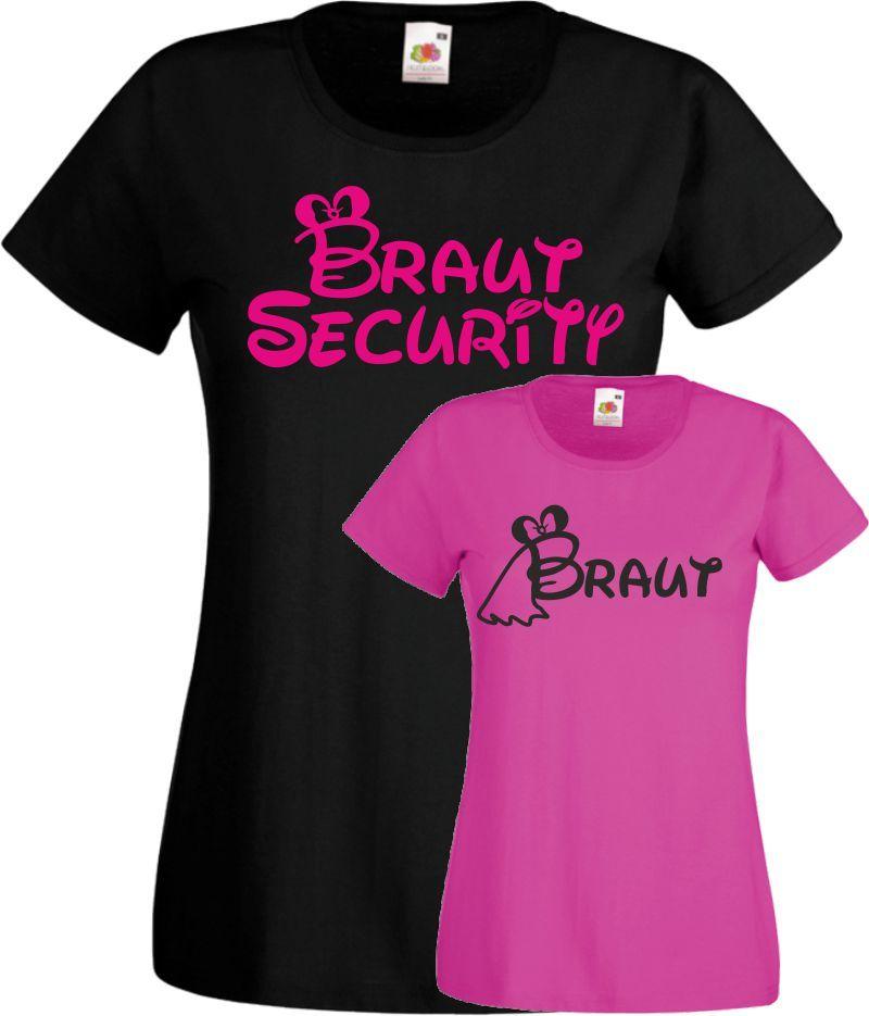 Junggesellinnenabschied Braut Security Ich bin die Braut Damen T Shirt JGA
