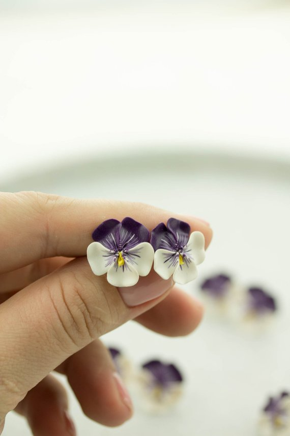 Pansy Earrings Flower Jewelry Clay Earrings Flower Stud Earrings Bridal Earrings Hypoallergenic Studs Polymer Clay Flowers Pansies Stud Earrings