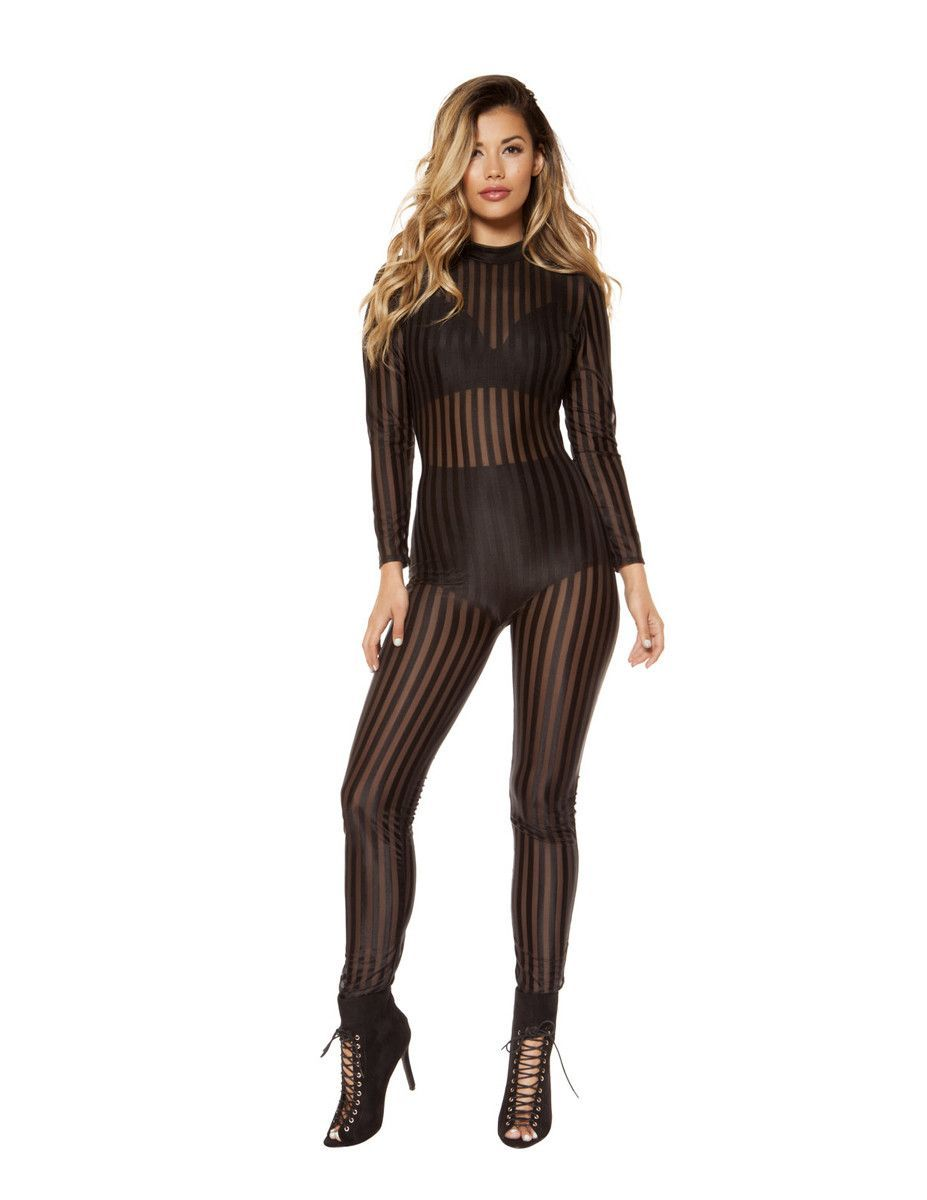 eb7500de5b Semi-Sheer Striped Black Mesh Jumpsuit in 2019