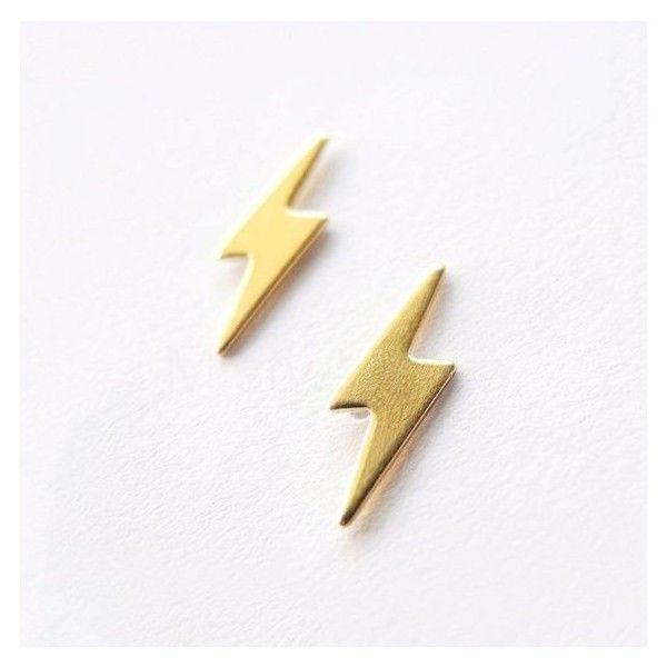 bf35dd2d7 Lightning Bolt Earrings,Gold Brass Lightning Earring Studs,Lightning... ❤  liked on Polyvore featuring jewelry, earrings, yellow gold earrings, yellow  gold ...