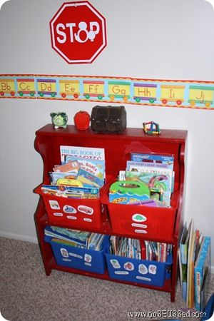 Organizing Kid Books by category bins