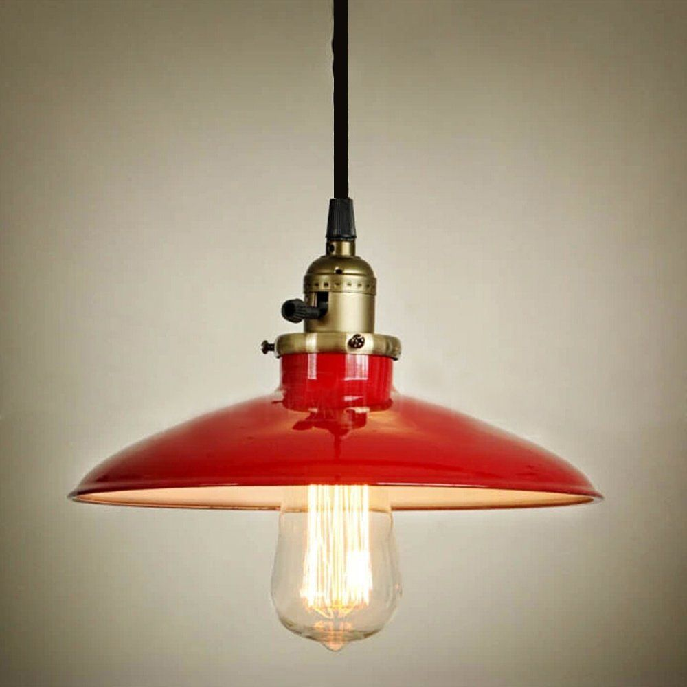 Buyee modern vintage industrial metal red ceiling light metal shade pendant light - Ceiling lights and chandeliers ...
