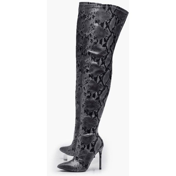 81632aa06 Boohoo Beatrice Stretch Snake Over the Knee Boot ( 86) ❤ liked on Polyvore  featuring