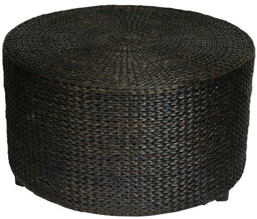 Oriental Furniture Rustic Coffee Table Foot Stool 30 Inch Woven Water Hyacinth Rattan Style Roun Ottoman Table Ottoman Coffee Table Round Ottoman Coffee Table