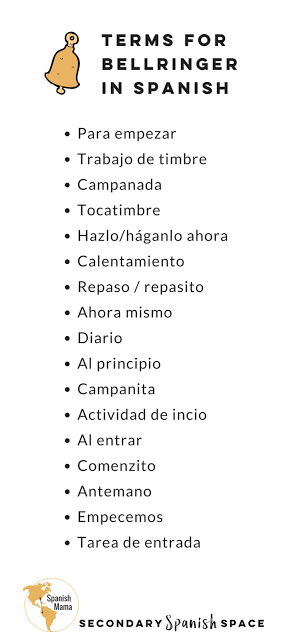 Terms For Bellringers In Spanish There Are Many Ways Teachers Say Bellringer Para Emp Spanish Learning Activities World Language Classroom Classroom Language