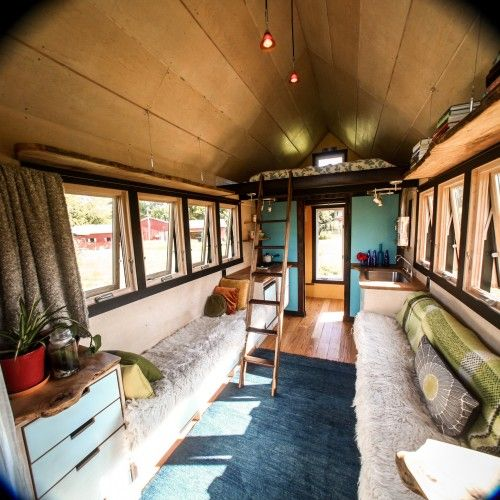 Probably One Of The Nicest Tiny Homes I Ve Seen Yet Love Lengthy Design And Awesome Wood Counters Shelves Added Open Exterior Porch Is Really Nice