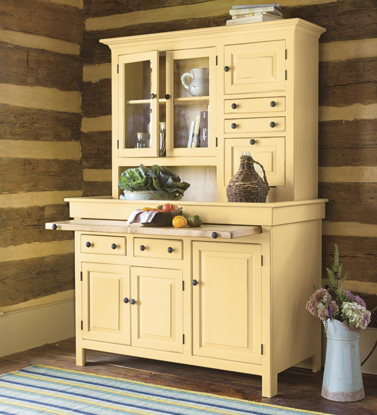 Large Painted Finish Conestoga Cupboard Beeswax Antique Kitchen Cabinets Kitchen Renovation Hoosier Cabinets