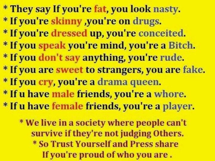 Stop hating and judging