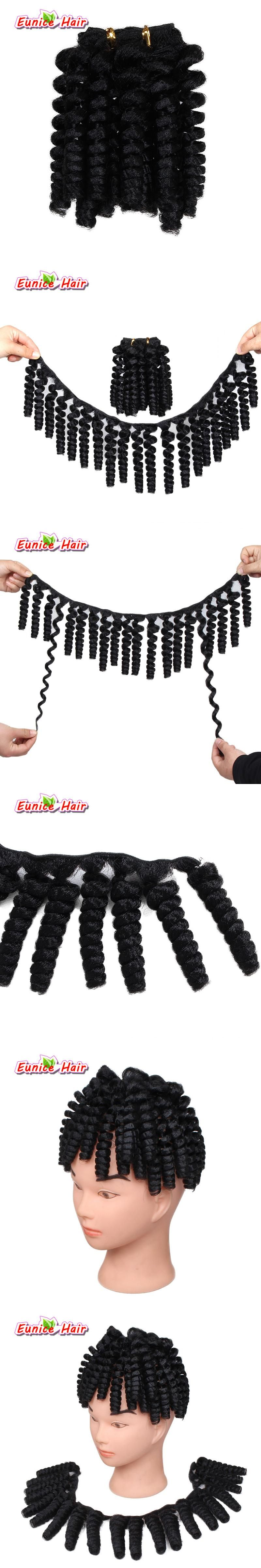Pre Curled Textured Synthetic Hair Weft 20inch Black Bouncy Curl