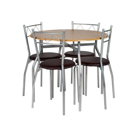 Buy Oslo Dining Table and 4 Chairs Oak Effect Leather effect at