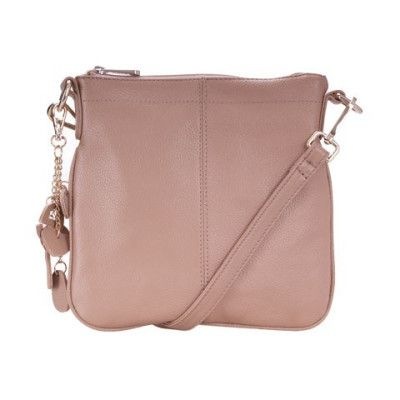 Ada G Leather Top Zip Cross Body Bag Mushroom