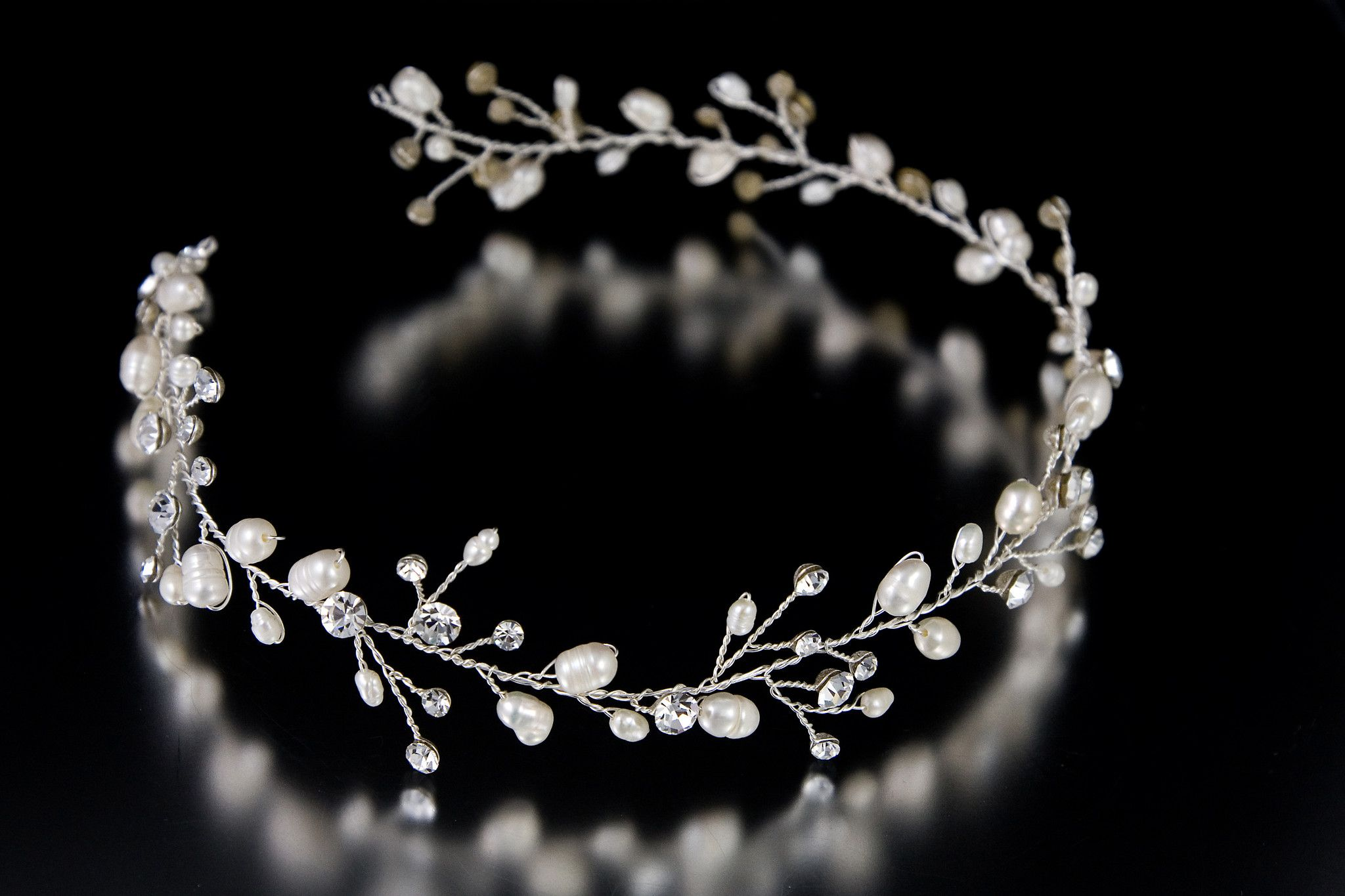 Wedding Hair Vine Headband of Freshwater Pearls and Rhinestones