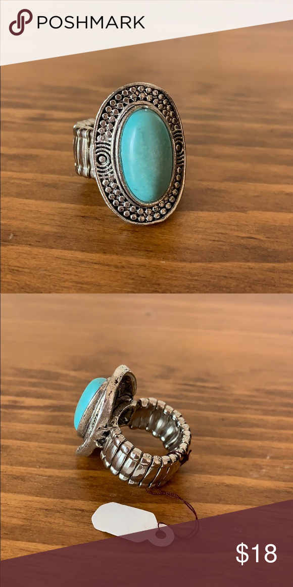 Turquoise Ring with Stretchy Band