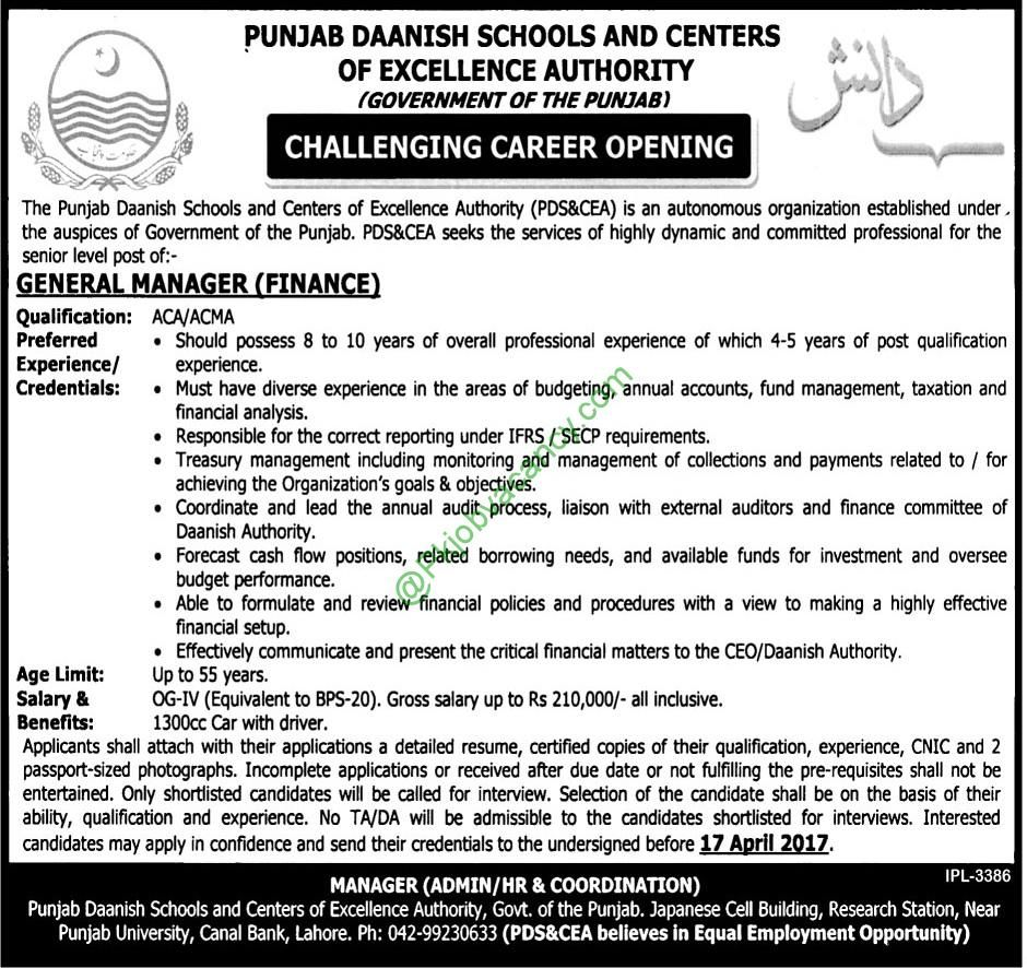 Punjab Daanish Schools General Manager Jobs  Latest