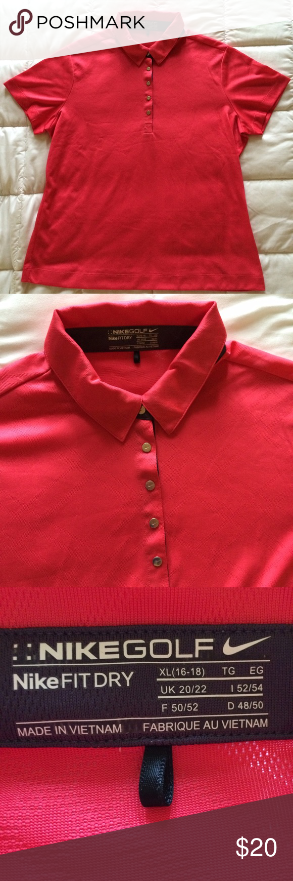 NikeGOLF/fit dry LADIES GOLF SHIRT Brand new, Odd pink color, NIKE GOLF NIKE FITDRY ladies golf shirt. This is brand new NEVER WORN selling for my mother who buys these shirts yet takes the tags off and never wears.          ✔️if you like this CHECK THE OTHERS THE SAME IN MY CLOSET Nike  Tops