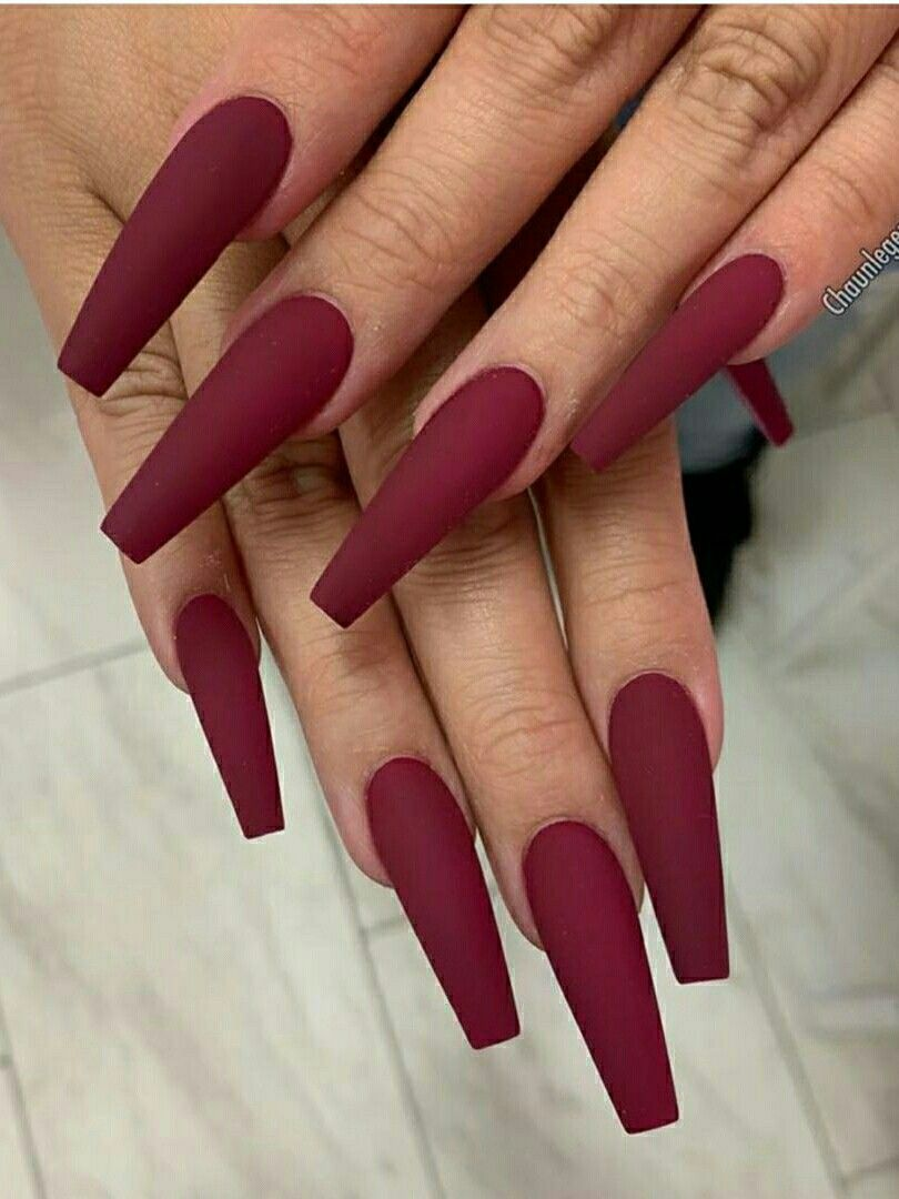 Beautiful Matte Maroon Coffin Nails Long For Fall Time Coffin Nails Long Burgundy Nails Red Acrylic Nails