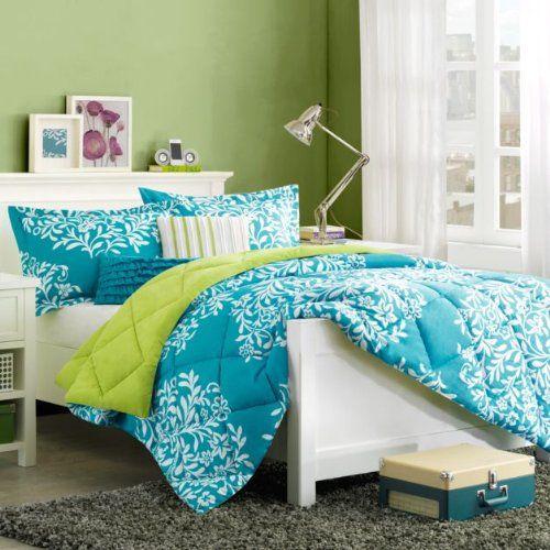 turquoise blue green girls queen comforter set bonus toss pillows 5 piece bed in a bag. Black Bedroom Furniture Sets. Home Design Ideas
