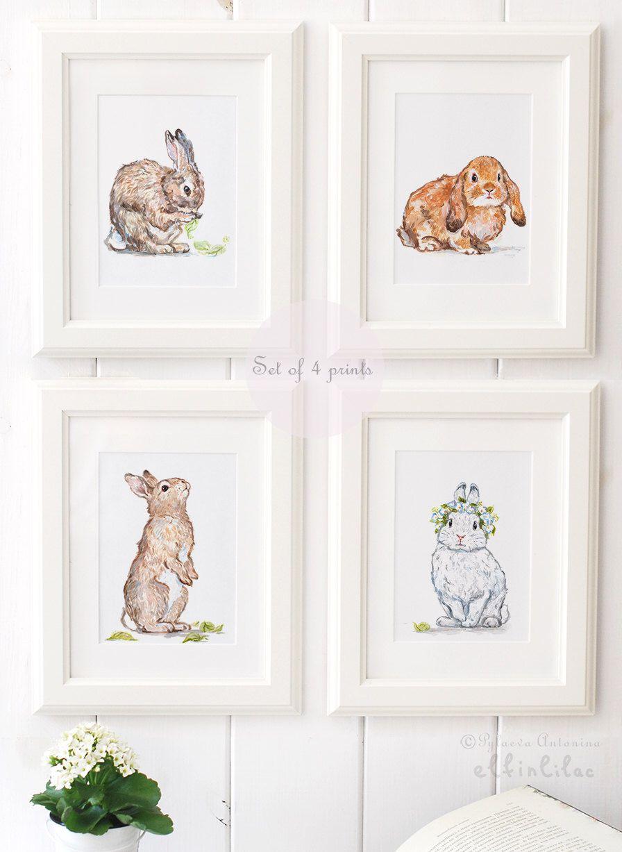 Bunny Art Print Set Nursery Prints Giclee Decor