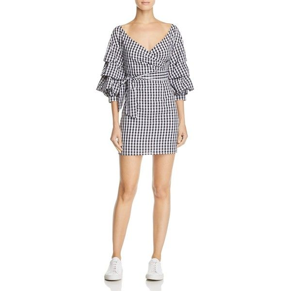 Do And Be Gingham Wrap Dress 100 Exclusive 380 Ron Liked On Polyvore Featuring Dresses Black Slimming