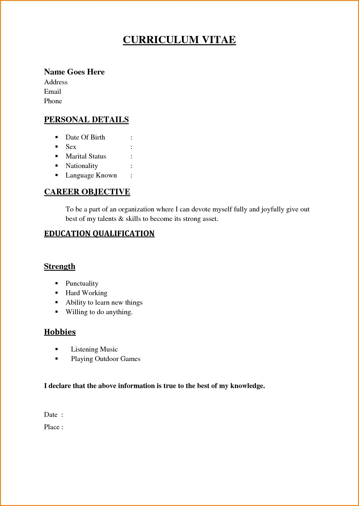 Pin By Veerla Venkat On Fggh Basic Resume Basic Resume Format