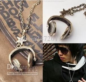 Wholesale -Vintage Gold Charms Earphone Headphones Pentagram With Crystal Necklace