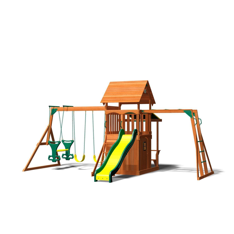 Backyard Discovery Saratoga Cedar Swing Play Set Playgrounds