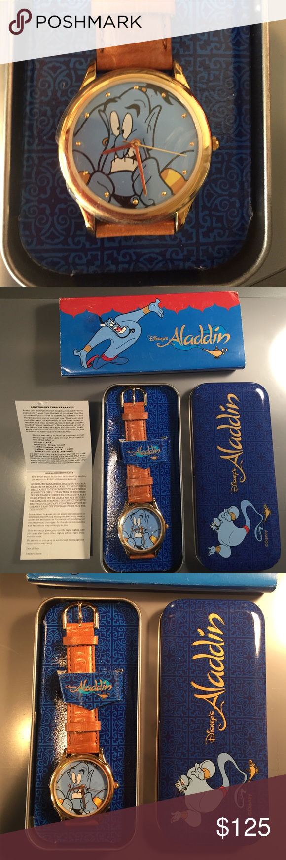 Brand New Vintage Disney's Aladdin Watch Brand New Disney Fossil Genie Watch Aladdin - Japan movement w/ brown leather band. Never taken out of original tin.  Paper, tin, and original sleeve. Original plastic in watch face. Needs battery. Fossil Accessories Watches