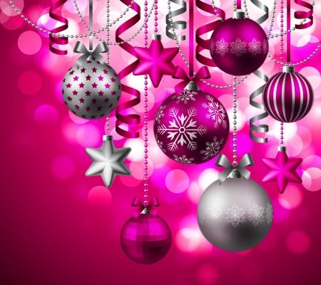Pink And Silver Christmas Background