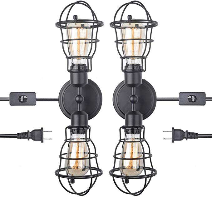 35 99 Pack Of 2 Options 2 Different Cage Stylesamazon Com Stepeak Wire Cage In Industrial Bathroom Vanity Lights Bathroom Vanity Lighting Lamps Fixtures