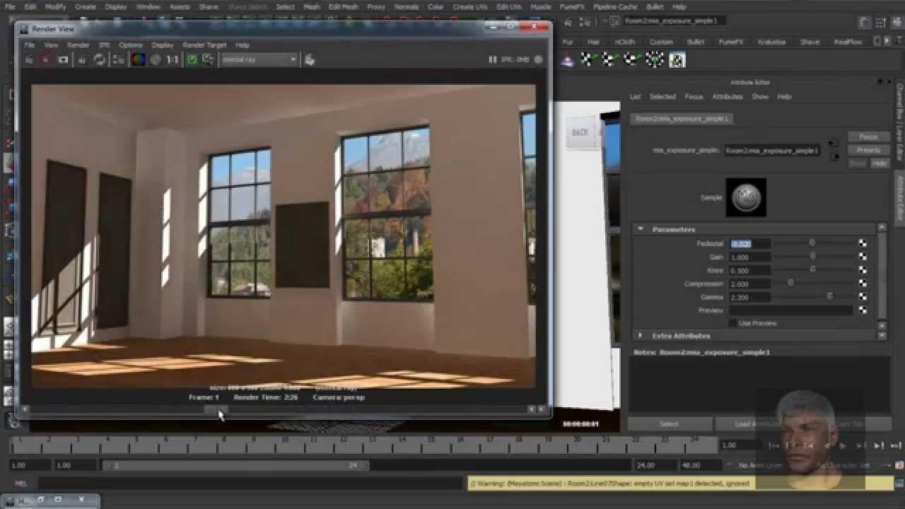 Maya 3D Render Interior Scene Standard Light Mental Ray