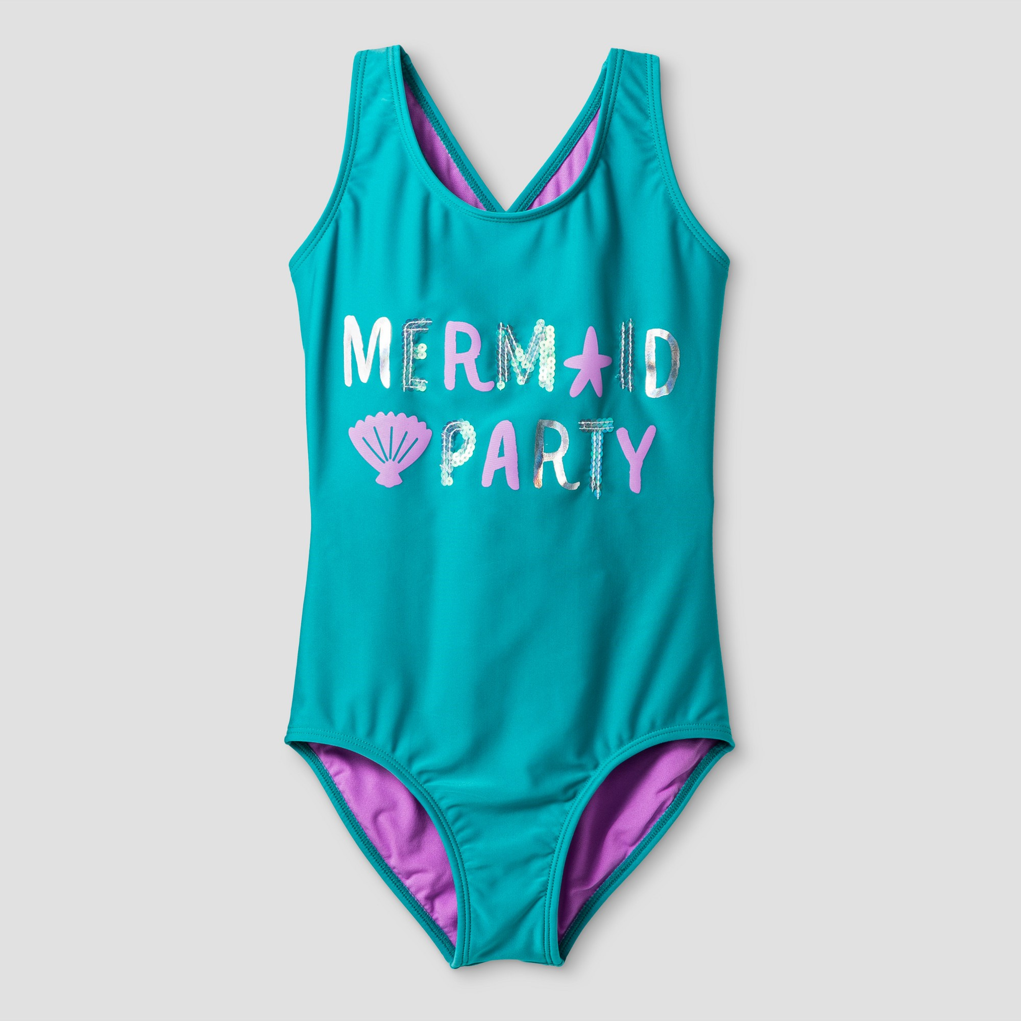 e73889693 Girls' Mermaid Party One Piece Swimsuit - Cat & Jack™ Turquoise L in ...