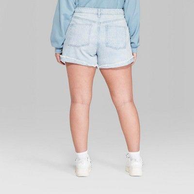 e7d05154b2 Women's Plus Size High-Rise Roll Cuff Mom Jeans Shorts - Wild Fable Light/Medium  Blue Wash 22W