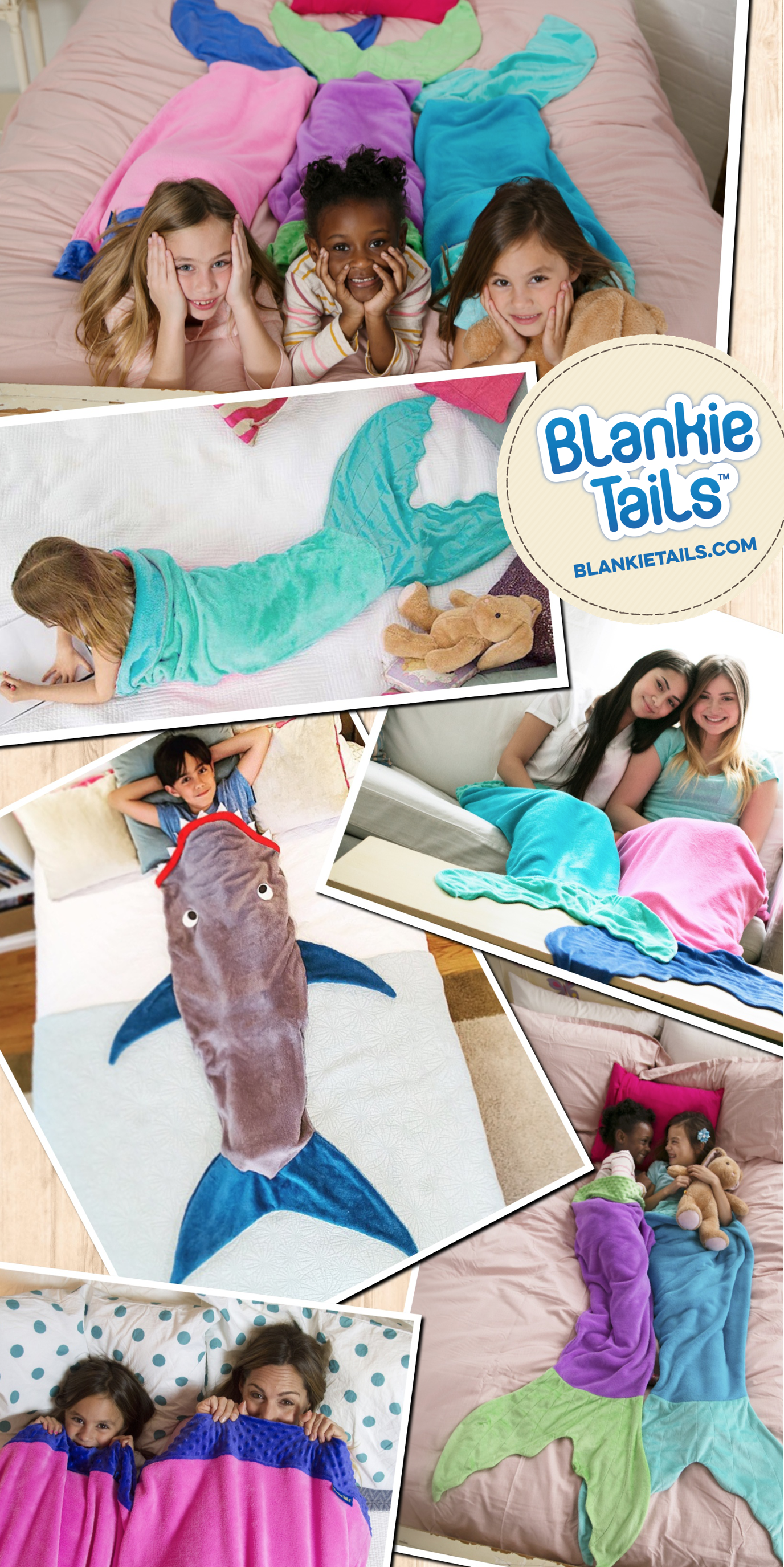If your kids dream of being mermaids, they will flip over Blankie Tails™ mermaid tail blankets! If they dream of being sharks? Well, take a look! Blank Tails™ is creator of The Original Mermaid Blanket™ and Shark Blanket™